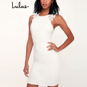 Lulu's - 'Come Alive' Lace Bodycon Dress (WHITE)